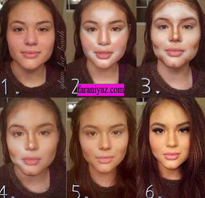 عکس روش کوچک تر کردن بینی با آرایش