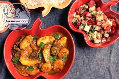 عکس خورشت سیب و آلو قیسی با گوشت