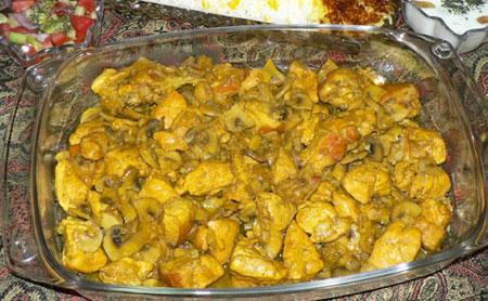 عکس خوراک مرغ و قارچ رژیمی