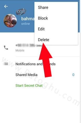 حذف مخاطب در تلگرام