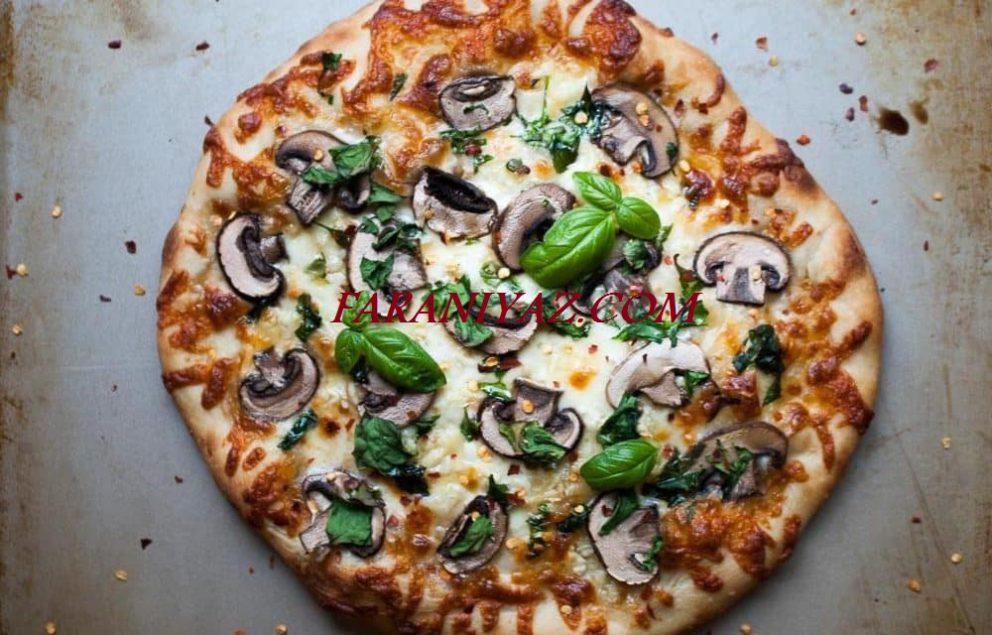 طرز تهیه پیتزا اسفناج و قارچ