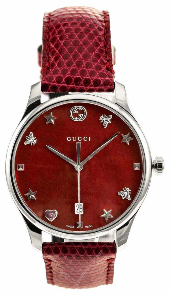 ساعت زنانه بند چرمی قرمز